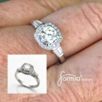 Proposal awaits one lucky lady Cushion cut halo with round diamond tapered baugettes on shoulders