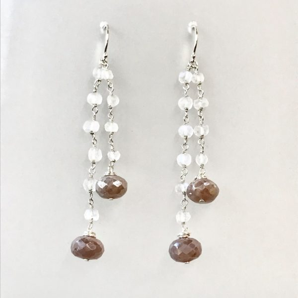Earrings pink mystic moonstone dangle