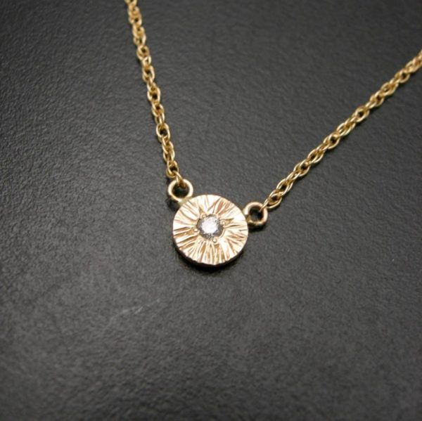 Textured disc pendant necklace in gold and diamond, redesign using your own gold and gemstones