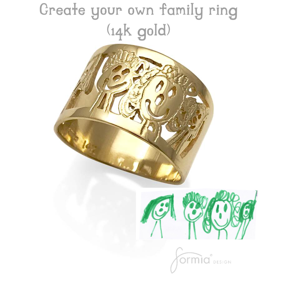 Artwork in gold for a ring, kids design on gold ring
