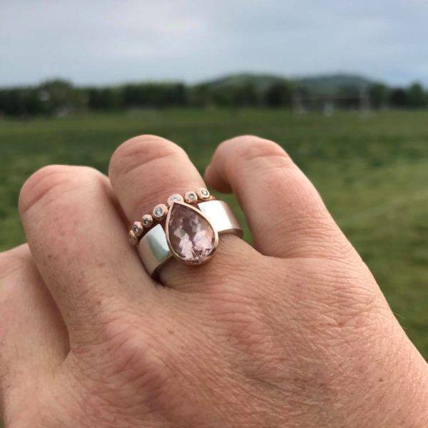 Morganite peachy pink perfect on the finger with diamond ring