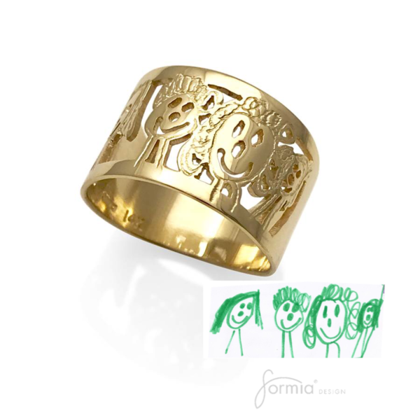 New artwork gold ring, your childs family drawing captured in 14k gold