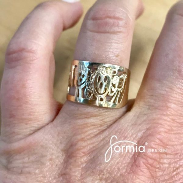artwork gold ring family drawing on your finger keepsake for years
