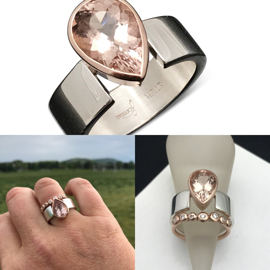 morganite rose gold drop ring peachy pink perfect