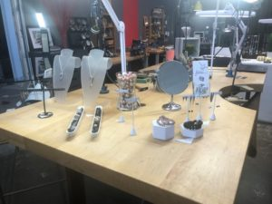 Artisan studio tour main table display versatile earrings and shadow rings