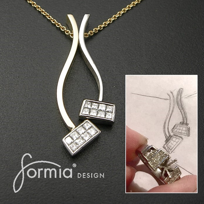 Combination pendants made from invisible set diamonds from old platinum ring redesign and recycle jewelry