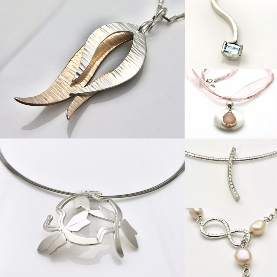 Fabulous necklaces designed by Mia presious metals and gemstones