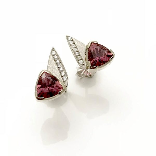 Pink tourmaline diamond stud earrings