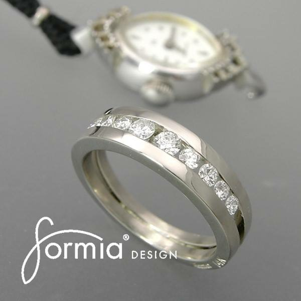 Redesigned diamonds into a ring after being in a watch, recycle material for jewelry