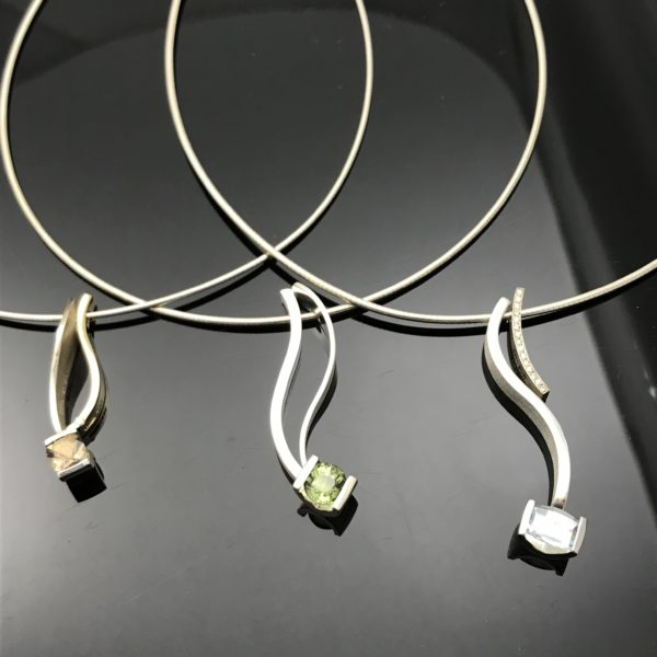 Silver combination pendants sleek and simple