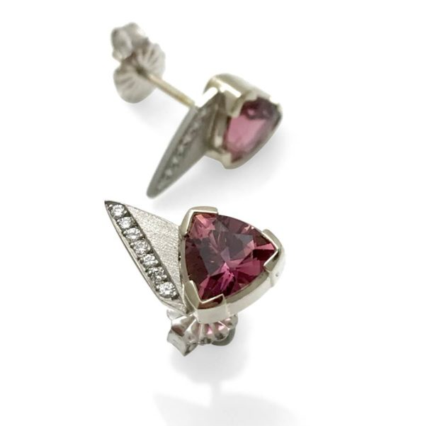 Triangular pink studs, Trillion cut tourmaline accented with diamonds