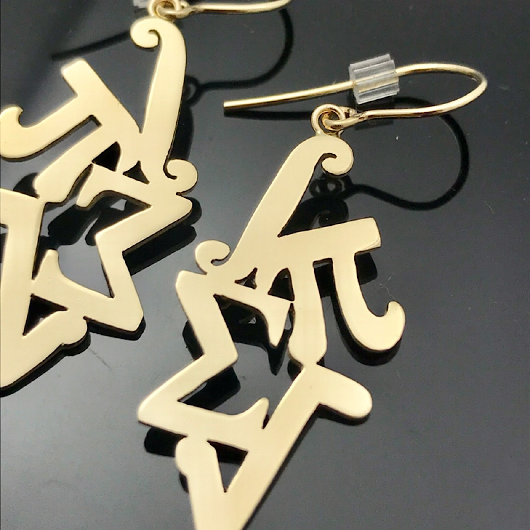 calculus inspired earrings in gold for math lovers, mathematic symbols used as the design of 14k gold dangle earrings
