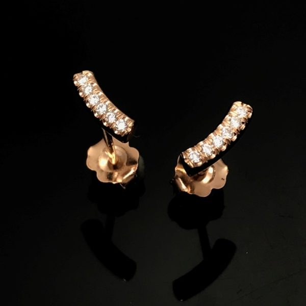 Kurvene diamond rose gold stud earrings for versatile use, diamonds great quality and set with traditional goldsmith skill