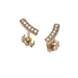 Kurvene diamond stud earrings 14k rose gold micro bead set brilliant cut diamonds