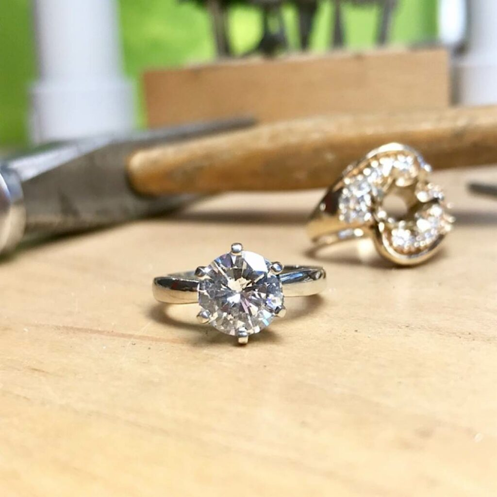reusing the old diamond from family ring for a new modern engagement ring