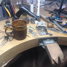 busy work bench for a gold smith