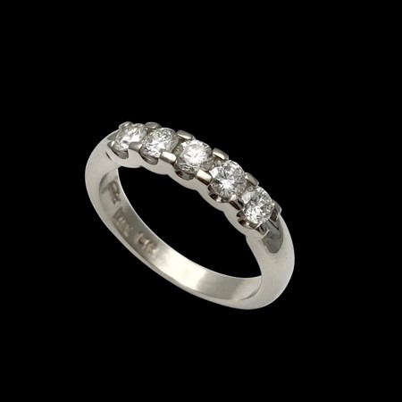 Classic diamond band shared prongs handmade white gold