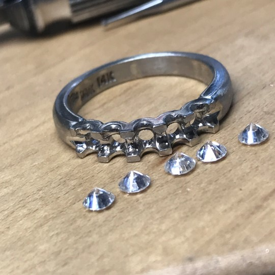 Diamond wedding ring before setting