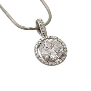 Moissanite diamond halo pendant for the classic look