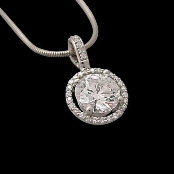conflict free lab created diamond halo pendant
