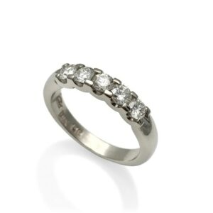 shared prong classic wedding band in white gold