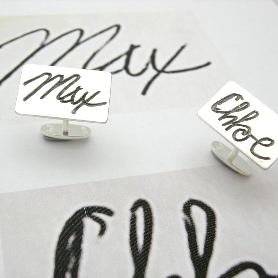 engraved cufflinks with childrens actual writing of their name