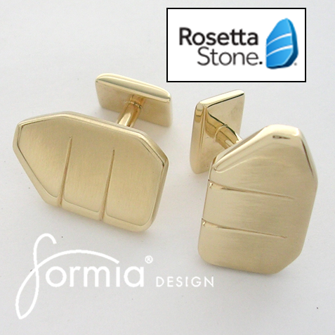 Rosetta stone gold cufflinks using logo to create a custom special order