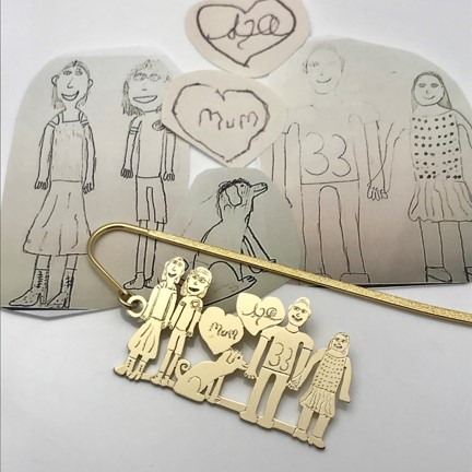 bronze and gold plated dangle book mark design after your own drawing