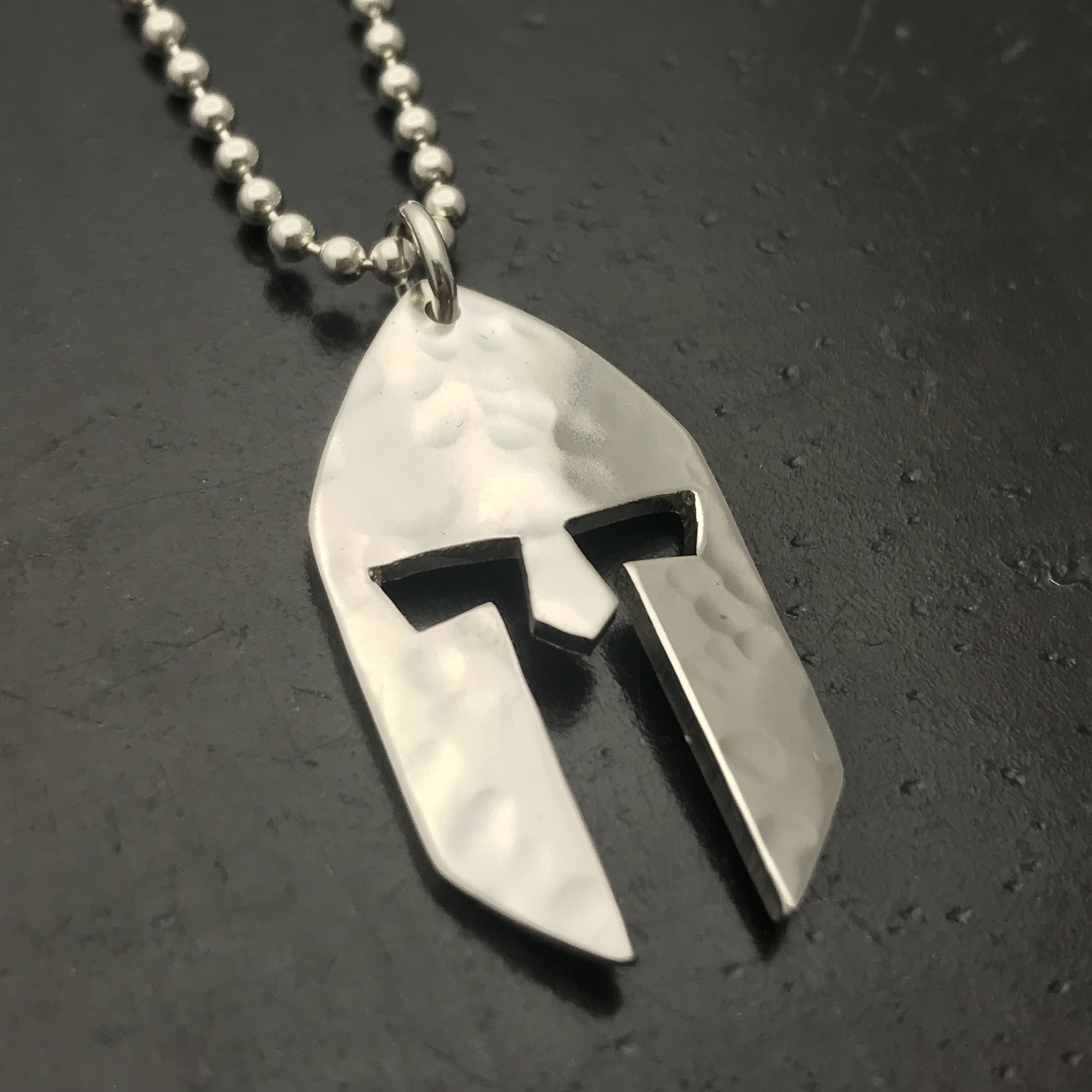 custom vikings mask helmet hammered pendant sligth curved commission piece for special order