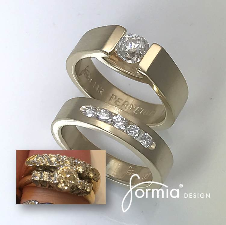 Redesign wedding rings yellow gold and diamonds