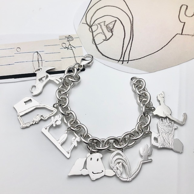 Collect your kids art charm bracelet- save your childs drawings