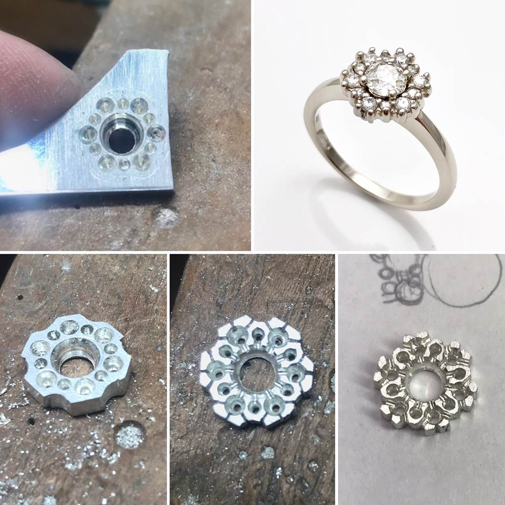 hand fabricated engagement ring, diamond ring made by hand