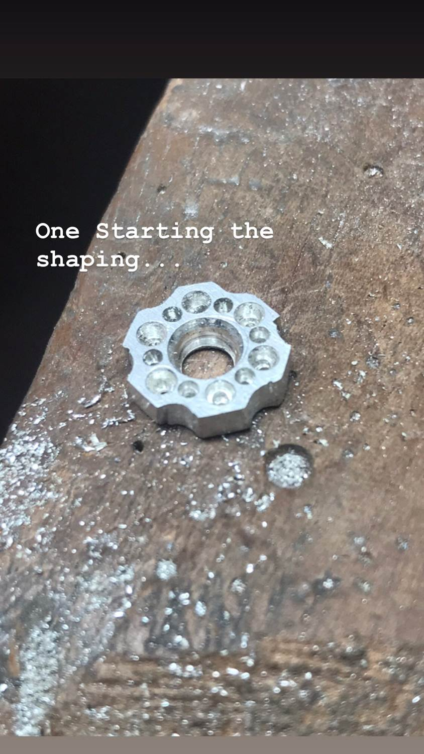 shaping around the holes for diamonds