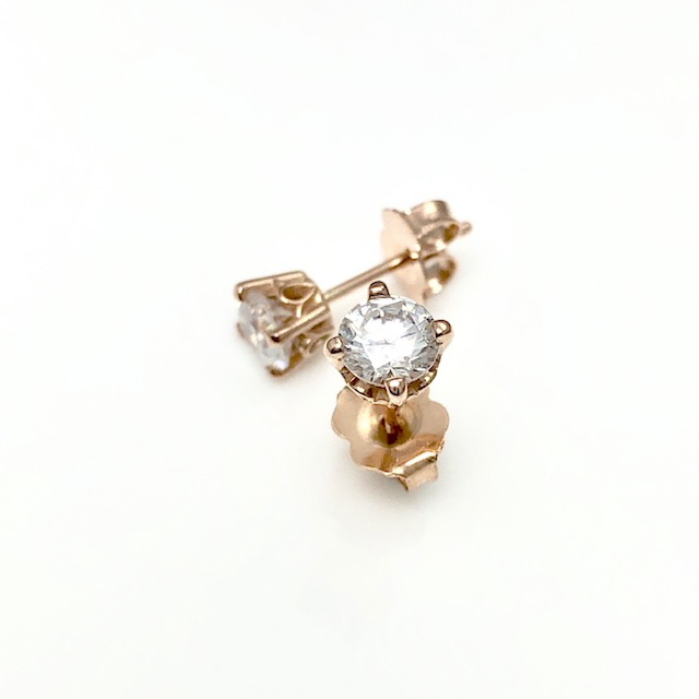 vintage diamond stud earrings rose gold and art deco design for the classy woman