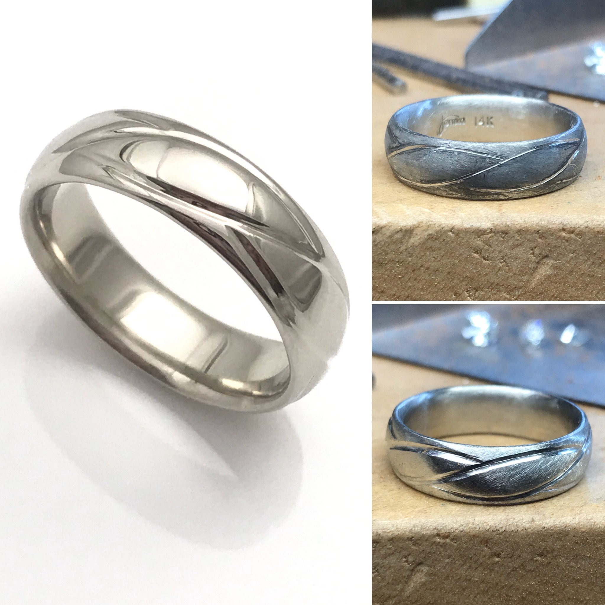 A grooms wedding band, custom made after his own vision