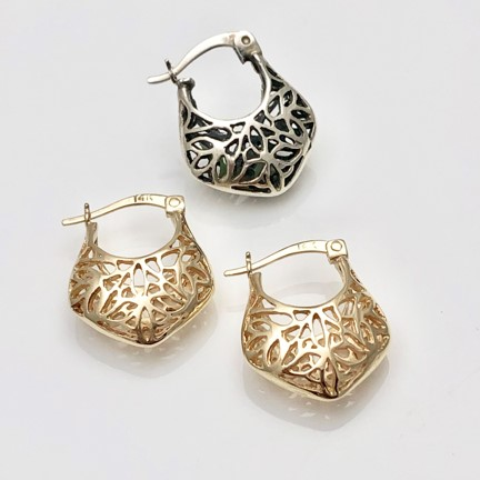 Gold earring replica, favorite earring copied from silver to gold