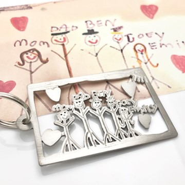Flipped over the key chain, family drawing titanium key chain