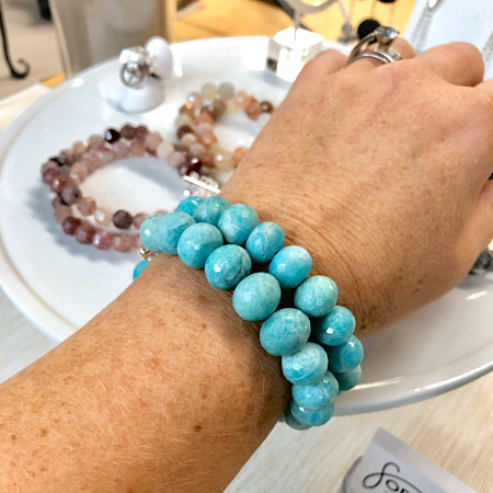Green moonstone bead bracelet for the colorful woman