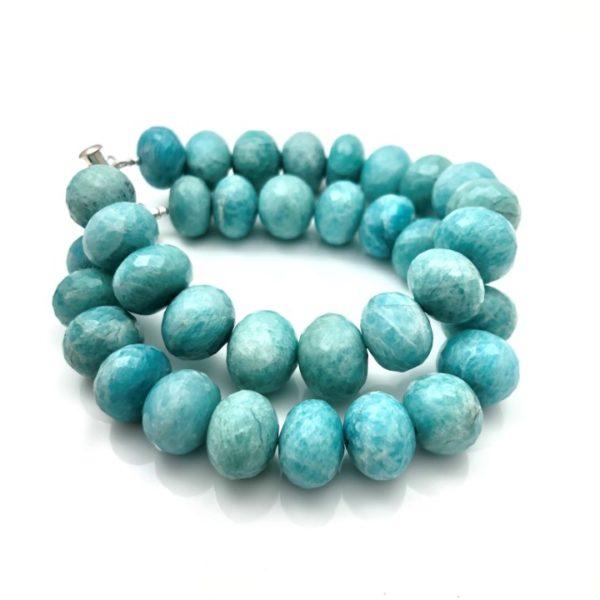 Green moonstone bracelet two strand bead bracelet facetted oval stones