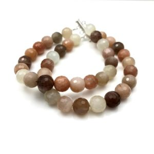 Mixed moonstone bracelet, facetted round beads two strand