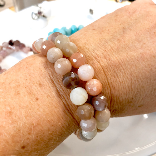 Mixed moonstone bracelet soft pink colors in two strand bracelet