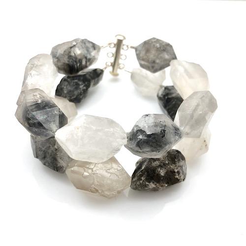 Raw uncut quartz bracelet