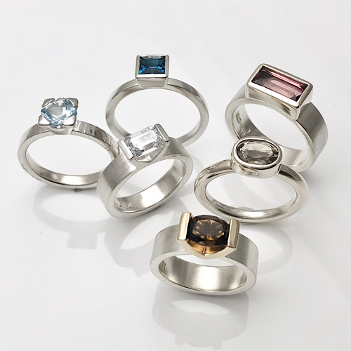 Rings with gemstones