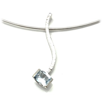 Sky blue serpentine pendant, combination pendant with Topaz, hammered textured sterling silver