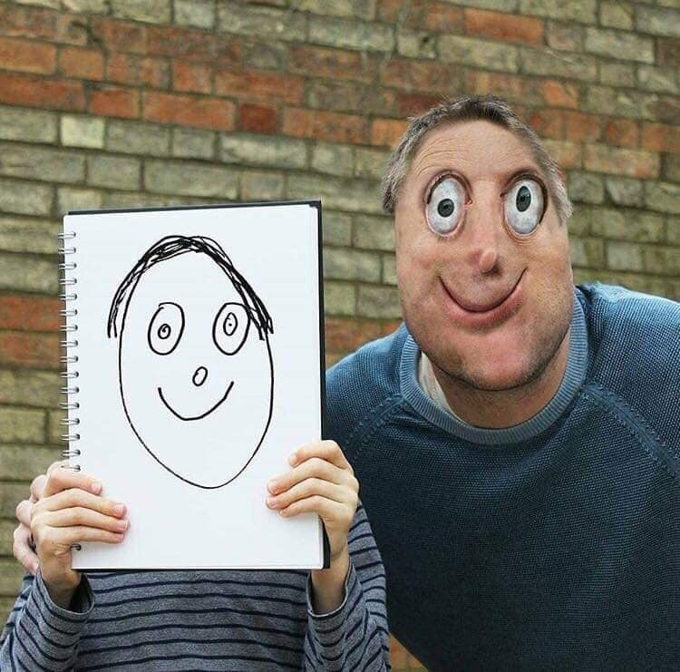 Daddy portrait in real life, what if kids drawings was REAL