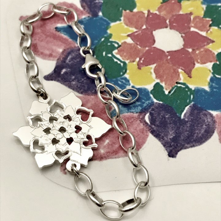 colorful flower drawn by your kids become a treasured bracelet