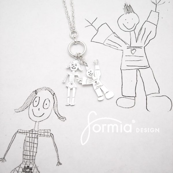 Kids art charms on necklace, kids design the miniature charms for Mom
