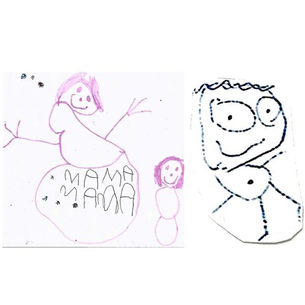 Miniature cluster charm necklace snowman and boy stick figure portrait