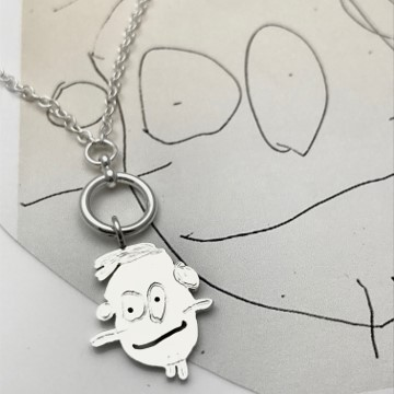 miniature cluster of charm necklace one charm, kids art portrait