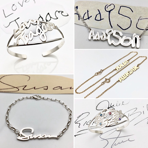 Close to your heart, loved ones names and handwriting as wearable art
